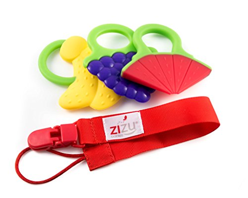 ZIZU Baby Teether Toys with Pacifier Clip - Set of 3 (Sleep Satisfaction Llc Sign compare prices)