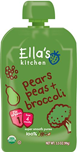 Ella's Kitchen Organic Stage 2, Pears Peas + Broccoli, 3.5 Ounce (Pack of 6) (Ellas Baby Food Pouches Stage 2 compare prices)