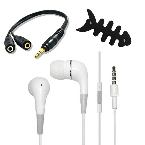 In-Ear Earplug Earphone With Volume Control For Apple Iphone 5 5S 5C + 3.5Mm Splitter + Fishbone
