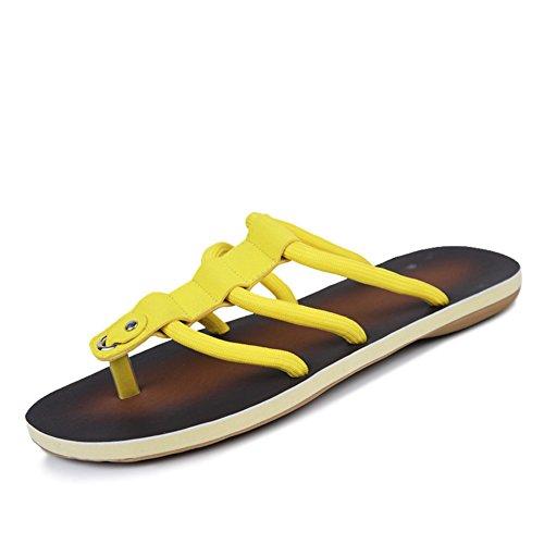 Infradito di slittamento estate/Attuale scarpe-giallo Lunghezza piede=26.3CM(10.4Inch)