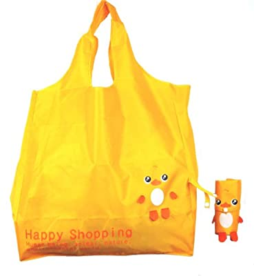 Reusable Shopping Tote Bag - Folded into a Duck - Yellow