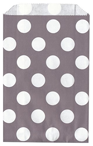 Polka Dot GRAY/GREY Food Treat & Favor Paper Bags 24Pk 5X7 - Twilight Parties