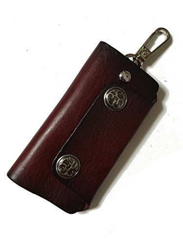 [ORIGINAL] 牛革製スマートキーケース レトロボタンスタイル レッドブラウン