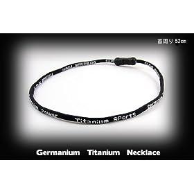 スポーツネックレス ゲルマニウムネックレス チタンネックレス HJ-1紐-52-黒