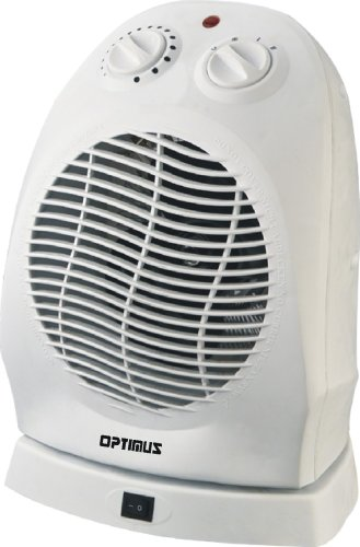 Optimus H-1382 Portable 2-Speed Oscillating Fan Heater with Thermostat (White)