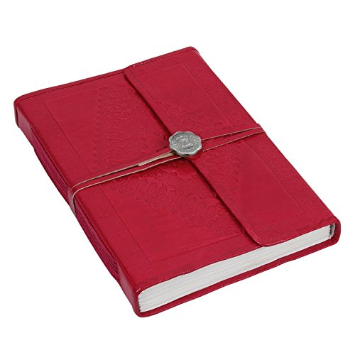 Store Indya Leather Bound Journal Diary Blank Notebook Handmade 96 Sheets 192 Pages Unlined with Matching Leather String and Old Seal