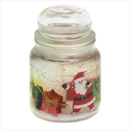 Cinnamon Scented Santas Present Glass Jar Gel Candle