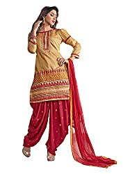 Trendz Apparels Gold Chanderi Patiyala Salwar Suit