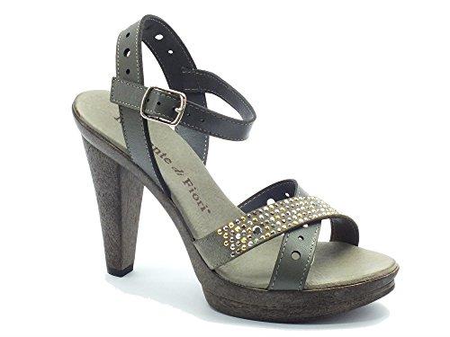 Sandalo Mercante di Fiori in pelle grigia con bulloncini (Taglia 37)
