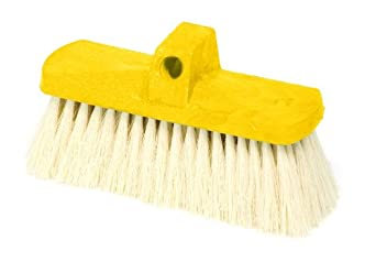 Rubbermaid Commercial FG9B3800YEL Plastic Block Wash Brush with Hole for Threaded or Tapered Handle, Tampico Fill, Yellow