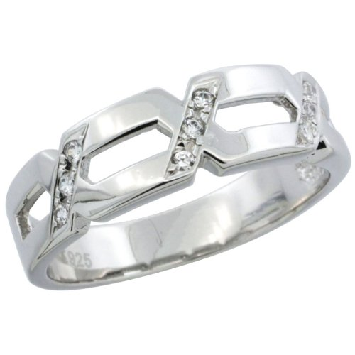 Sterling Silver Men's Wedding Ring CZ Stones Rhodium Finish, 1/4 in. 6.5 mm, Size 8