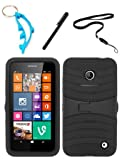 img - for 4 Items Combo For Nokia Lumia 635 (MetroPCS/T-Mobile/AT&T) Black Hybrid Heavy Duty Armor Rugged Shell Protective UCASE Phone Case Cover with Built in Kickstand and Screen Protector + Free Stylus Pen + Free Neck Strap + Free Alloy Beer Bottle Opener Dolphin Keychain book / textbook / text book
