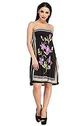 Off-Sholder Printed casual Beachwear Dress - NK4175-Black