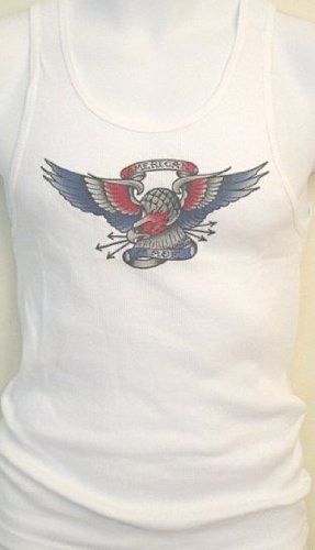 Mens White Beater Style Muscle Shirt with American Eagle Tattoo Design. Super soft fine rib 100 percent cotton wife beater style shirt.