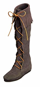 Front Lace Hardsole Knee Hi Boot in Dusty Brown Suede