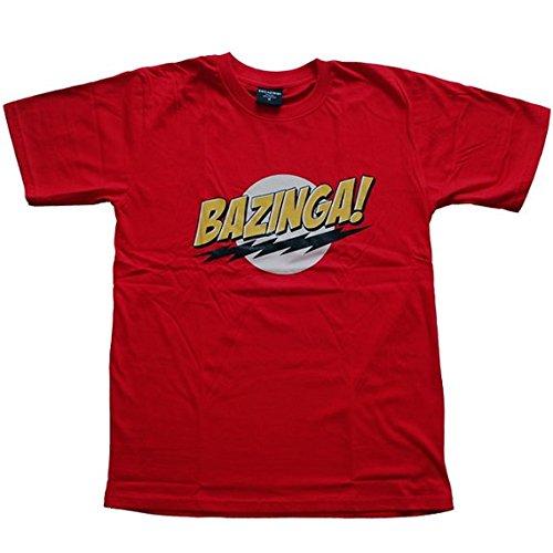 The Big Bang Theory ビッグバン★セオリー BAZINGA! プリントTシャツ S 赤 (並行輸入品)