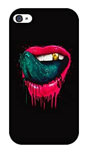 """Humor Gang Lustrous Pink Lips Printed Designer Mobile Back Cover For """"Apple Iphone 4 - 4S"""" (2D, Glossy, Premium Quality Snap On Case)"""