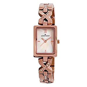 Anne Klein Women's 109424CMRG Swarovski Crystal Rosegold-Tone and Mother-Of-Pearl Dial Bracelet Watch