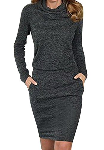 WANGSAURA Women Bodycon Long Sleeve Dress Evening Party Cocktail Mini Short Pencil Dresses
