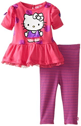 Hello Kitty Baby Baby Girls Infant 2 Piece Legging Set With Glitter, Fuchsia Purple, 24 Months front-363093