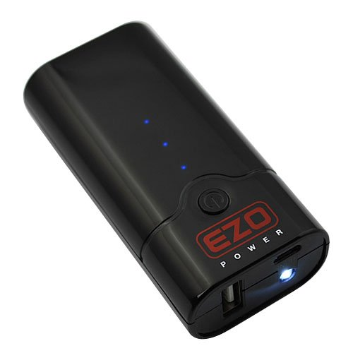 EZOPower Pocket Size High Capacity External Power Bank Battery Pack Charger with LED flashlight – 5200mAh 1A / Black
