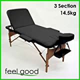FeelGoodUK Pro Flip Folding Portable Wooden Massage Table Couch Bed 14.5kg - TM02 - Rounded Table Corners + FREE Accessories & FREE Carry Bag - 3 Section (BLACK)