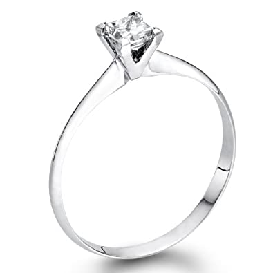 1/4 ct. Princess Cut Diamond Solitaire Engagement Ring in 18k White Gold