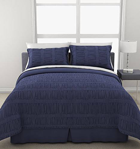 Republic Banded Gathers Comforter Set, Twin X-Large, Denim