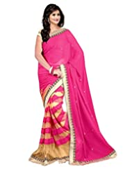 Alluing Half-Half Janasya Designer Saree With Hand Work In Pink