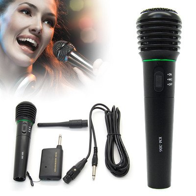 Professional Wireless Wired Microphone Karaoke Singing Dj Handheld Cordless Mic