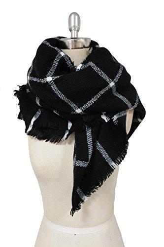 HIMONE da donna Tartan Sciarpa Fashion Lovely migliore regalo Wrap scialle Black Taglia unica