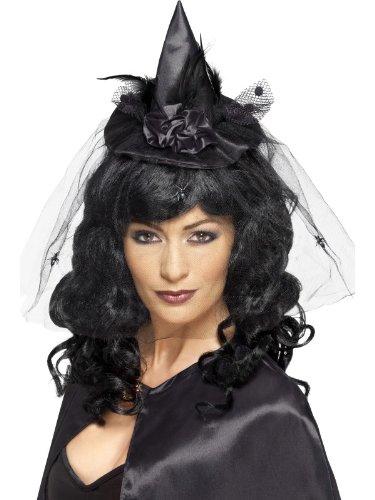 Smiffy's Women's Witch Hat Mini Headband On Display Card, Black, One Size - 1