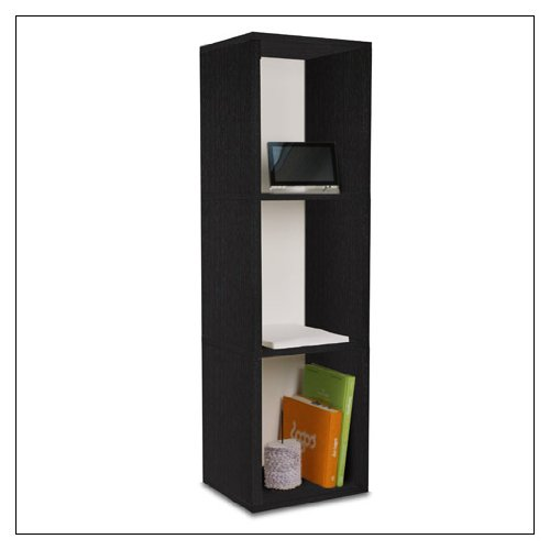 Way Basics zBoard Eco Storage Cube Plus 3-Shelf Storage Unit, Black Wood Grain