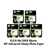 HP 364XL (364 XL) Set of 5 Ink Cartridges inc Black (550 Page Yield), Yellow, Cyan, Magenta, Photo Black and 10 FREE Sheets of HP Advanced Glossy Photo Paper for Photosmart B8550 C5324 C5380 C6324 C6380 D5460 C309n C309g C310a C309a C410b printers