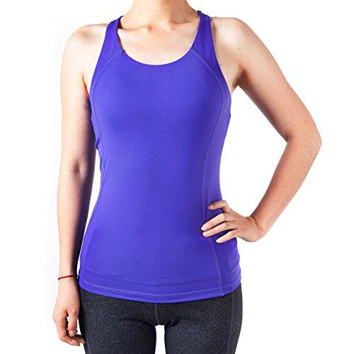 Sportown™ Women's Gym Yoga Fitness Workout Cross Back Tank Top, Purple, M