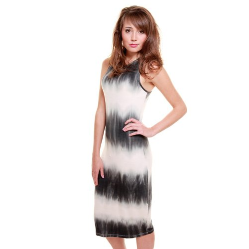 Glamorous Women'S Tie Dye Midi Bodycon Dress 4 Grey And White