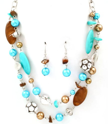 Sparkles Fashion Necklace - Turquoise Blue Brown Necklace and Earring SET / Pearl / Crystal Studs / Multi Layers / Formica / Texture / 18 Inch Long / Nickel and Lead Compliant / - Dangle Drop Chunky Statement Wedding Jewelry
