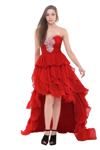 Moonar Chiffon Strapless Short Front Long Back Prom Formal Gowns Wedding Bridesmaid Party Dress Red Lf079 Us 14/ Uk 18