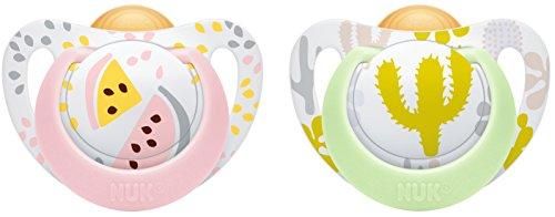 NUK 10172099 Genius Color Latex-Schnuller, kiefergerechte, zahnfreundlich, 6-18 Monate, BPA frei, 2 Stück, Girl