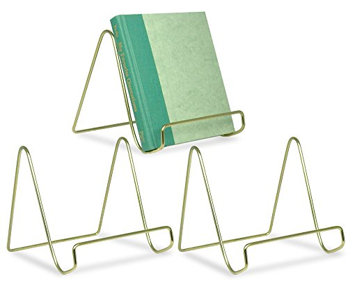 Wire Easel Display Stand Plate Holders - Smooth Brass Metal - 6 Inch - Set of 3