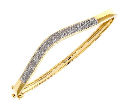 9ct Yellow Gold 0.10ct Diamond Pave Set Wave Bangle