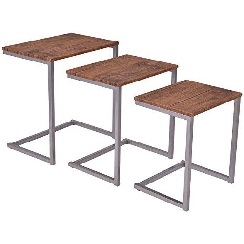 Giantex 3PC Stacking Nesting Coffee End Table Set Living Room Modern Home Furniture (Wood Coffee Table Set Of 3 compare prices)