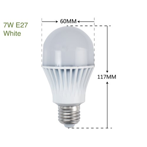 Weanas ® A19 7 Watt Led Light Bulb Lamp White Undimmable Equivalent To 50W E27 Incandescent Bulb Replacement 570 Lumen