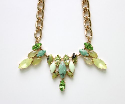 Charming Chain from 'Green Serenity' 2013 Collection Created by Amaro Jewelry Studio with Marquise Cut Green Aventurine, Variscite, Lime Chrysophase, Yellow Turquoise, Olive Jade and Swarovski Crystals; 24K Rose Gold Plated