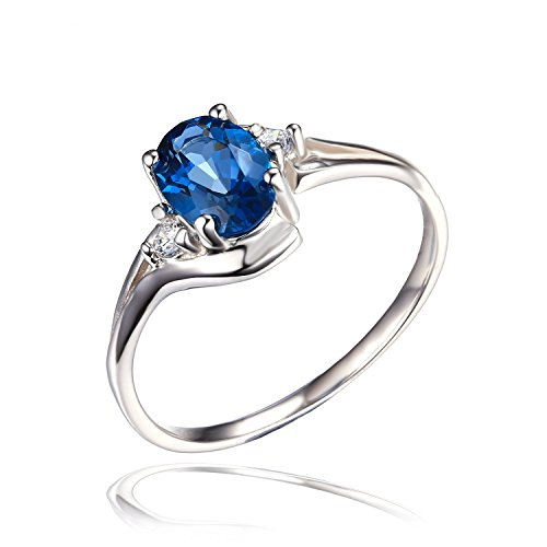 Jewelrypalace Women's Natural London Blue Topaz Gemstone 925 Sterling Silver Ring Size 8 (Sterling Gem Rings compare prices)