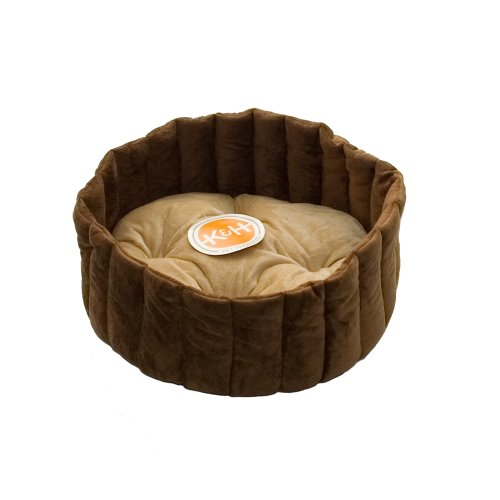 K&H Kitty Kup Cat Bed, Large 20-Inch Round, Tan/Mocha