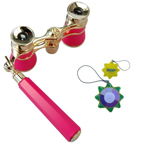 Hqrp Theater Binoculars W/ Built-In Extendable Handle / Pink-Pearl With Gold Trim By Hqrp Plus Uv Meter