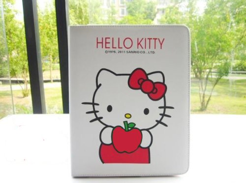 Hello kitty red apple style leather case bag for ipad 2 and Free Clear Screen Protector
