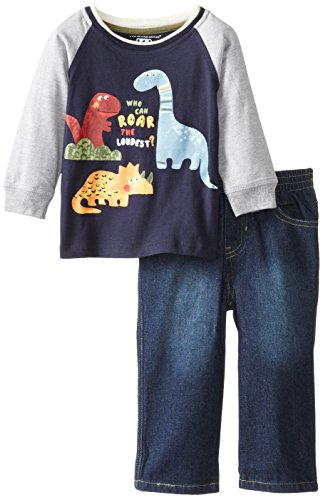 Kids Headquarters Baby-Boys Infant Raglan Top With Jeans, Navy, 18 Months front-655399