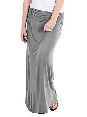 Basics Fold Over Rayon Maxi Skirt